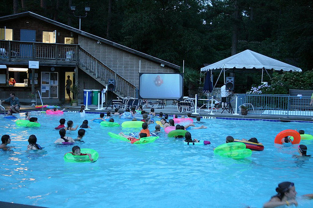 Movie night at the old pool house.